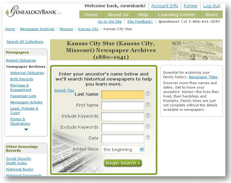 GenealogyBank search form for the Kansas City Star newspaper (Kansas City, Missouri)