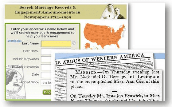 GenealogyBank search form for marriage records and engagement announcements