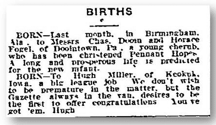birth notice from the Philadelphia Inquirer newspaper 5 April 1911