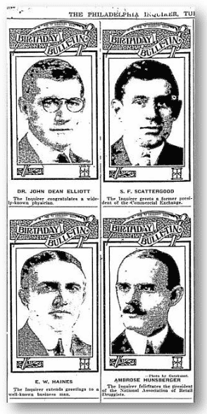 birthday bulletins from the Philadelphia Inquirer newspaper 29 August 1922