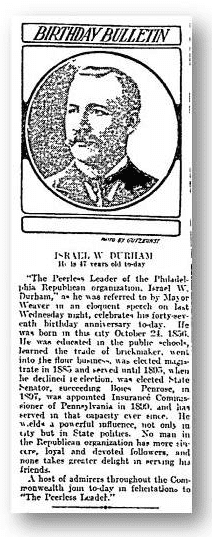 birthday bulletin for Israel W. Durham from the philadelphia inquirer newspaper 24 October 1903