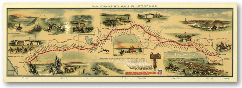 Historical Map of Pony Express Route that Stagecoaches Followed - 1860-1861