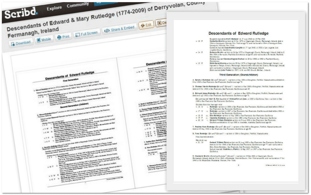 Genealogy Record Storage Online with Scribd