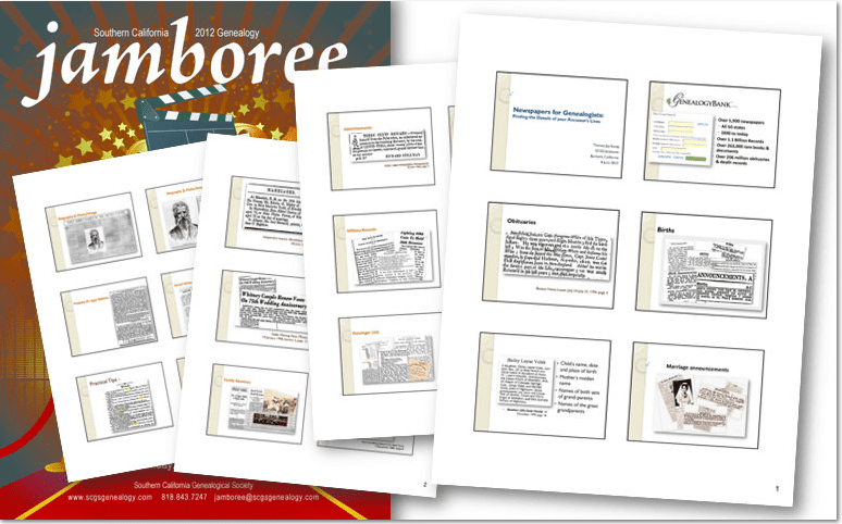 collage of handout material for Southern California Genealogical Society's Jamboree 2012