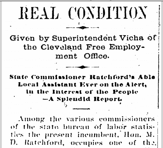 Real Condition Given by Superintendent Vicha of the Cleveland Free Employment Office, Cleveland Gazette newspaper article 15 December 1900