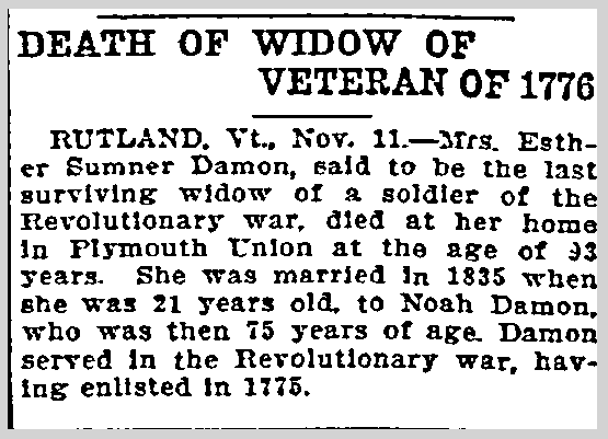 Death of Widow of Veteran of 1776, Duluth News-Tribune newspaper article, 12 November 1906