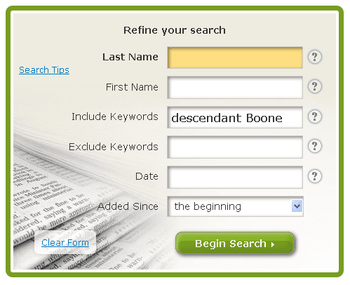 GenealogyBank search box to refine search for Daniel Boone