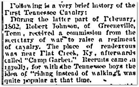 brief history of the Civil War's 1st Tennessee Cavalry Regiment, Knoxville Daily Journal, 01 September 1895