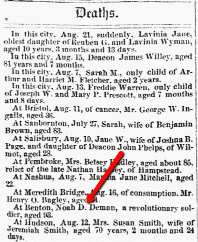 Death notice for Noah Damon, New Hampshire Patriot newspaper article, 24 August 1853