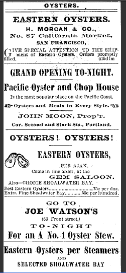 Old Vintage Advertisement for Oysters - Oregonian Newspaper  1874
