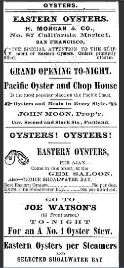 Old Vintage Advertisement for Oysters - Oregonian Newspaper 1874