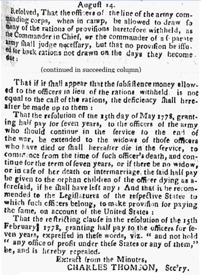 newspaper article about the 1780 pension act, Pennsylvania Packet newspaper, 19 September 1780