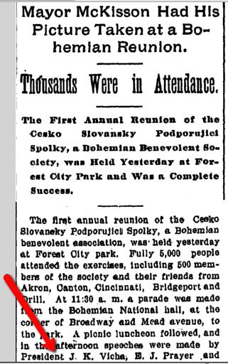 Mayor McKisson Had His Picture Taken at a Bohemian Reunion, Plain Dealer newspaper article 27 June 1898