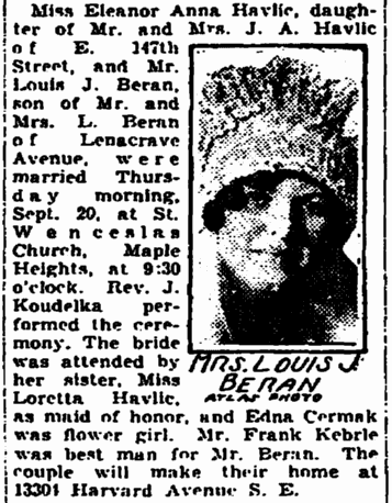 Mrs Louis J Beran Old Marriage Announcement