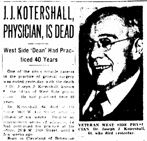 J.J. Kotershall, Physician, Is Dead, Plain Dealer 11 December 1945