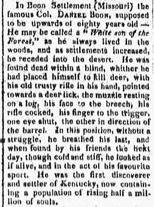 Daniel Boone obituary, Providence Gazette newspaper article, 19 September 1818