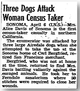 Three Dogs Attack Woman Census Taker, San Diego Union 7 April 1940