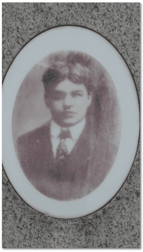 gravestone portrait of Albert Sluka (1877-1907)