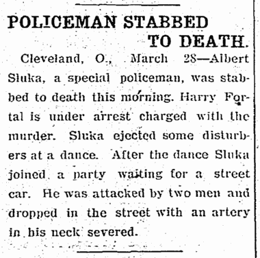 Policeman Stabbed to Death, Elkhart Truth newspaper article, 28 March 1907
