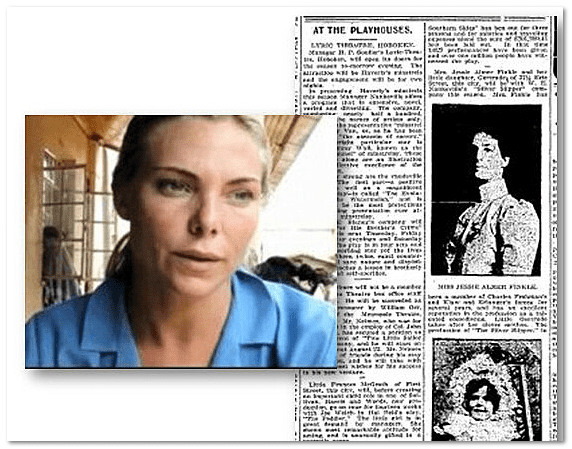 At the Playhouses, Evening Journal newspaper article 6 August 1904, plus photo of actress Samantha Womack