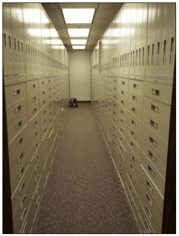 photograph of microfilm drawers inside the Family History Library, Salt Lake City, Utah