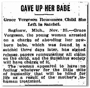 Gave Up Her Babe, Flint Journal newspaper article 25 November 1904