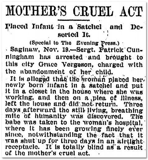 Mother's Cruel Act, Grand Rapids Press newspaper article 19 November 1904