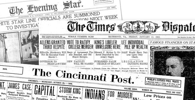 Historical Newspapers Archives Collage from GenealogyBank.com