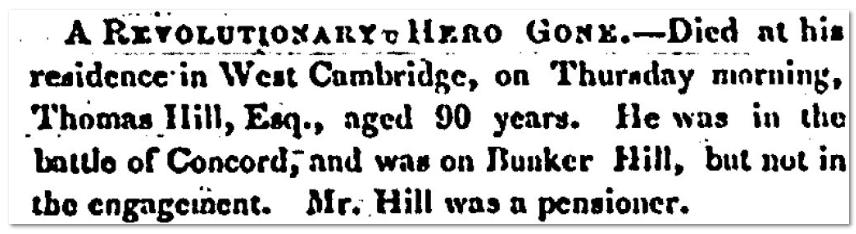 Thomas Hill Revolutionary War Hero Obituary - Massachusetts Spy Newspaper 1851