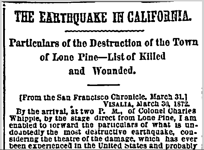 The Earthquake in California, New York Herald newspaper article 9 April 1872