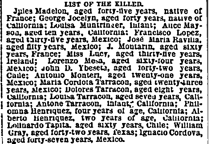 List of the Killed (in 1872 earthquake), New York Herald newspaper article 9 April 1872