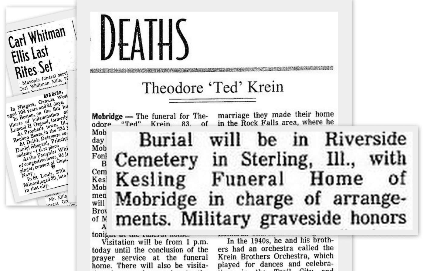 Newspaper Death Notices & Obituaries Collage