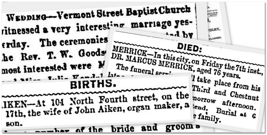 collage of newspapers available in GenealogyBank's online historical newspaper archives