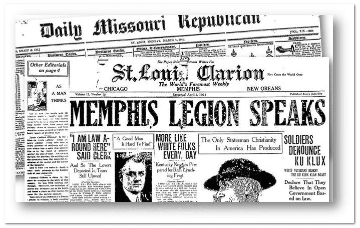 collage of St. Louis newspapers available in GenealogyBank's online historical newspaper archives