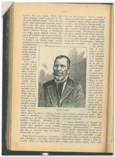 "photograph of a page from ""Amerikan Narodni Kalendar"" featuring interview with Frantisek (Frank) Knechtl"