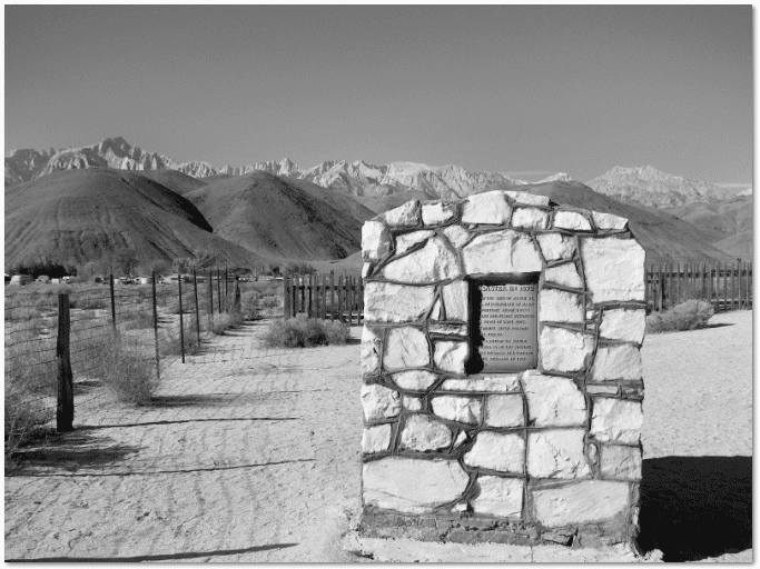 photograph of the historical marker for the 1872 Lone Pine, California, earthquake