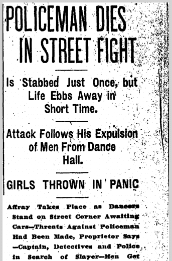 Policeman Dies in Street Fight, Plain Dealer newspaper article, 28 March 1907