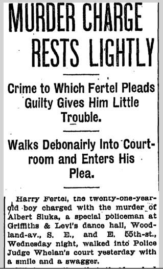 Murder Charge Rests Lightly, Plain Dealer newspaper article, 29 March 1907