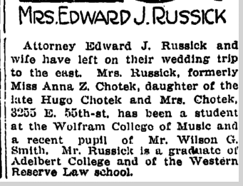 Mrs. Edward J. Russick, Plain Dealer newspaper article 7 July 1913