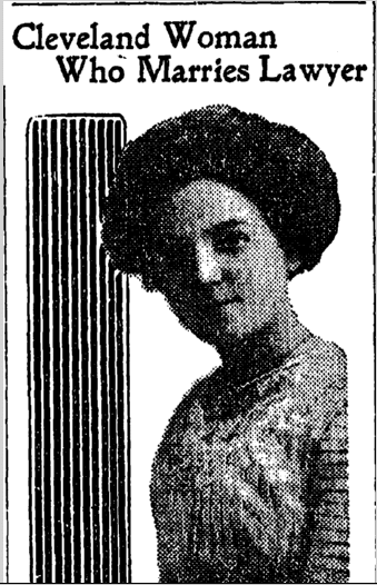 Cleveland Woman Who Marries Lawyer, Plain Dealer newspaper article 7 July 1913