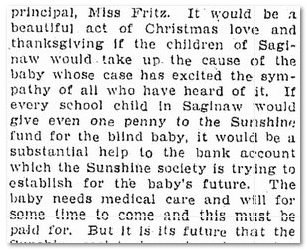 blind baby abandoned, Saginaw News newspaper article 25 November 1904
