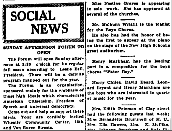 Social News, Plaindealer newspaper article 30 October 1931