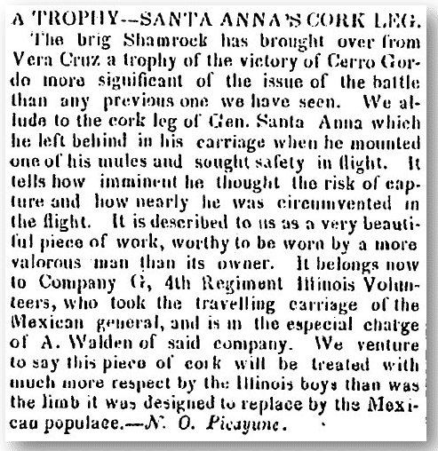 A Trophy--Santa Anna's Cork Leg, Alexandria Gazette newspaper article 03 June 1847