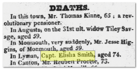obituary for Captain Elisha Smith, American Advocate newspaper article 16 April 1825
