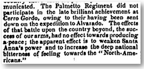 Palmetto Regiment of South Carolina Volunteers in Mexican-American War, Charleston Courier newspaper article 24 June 1847