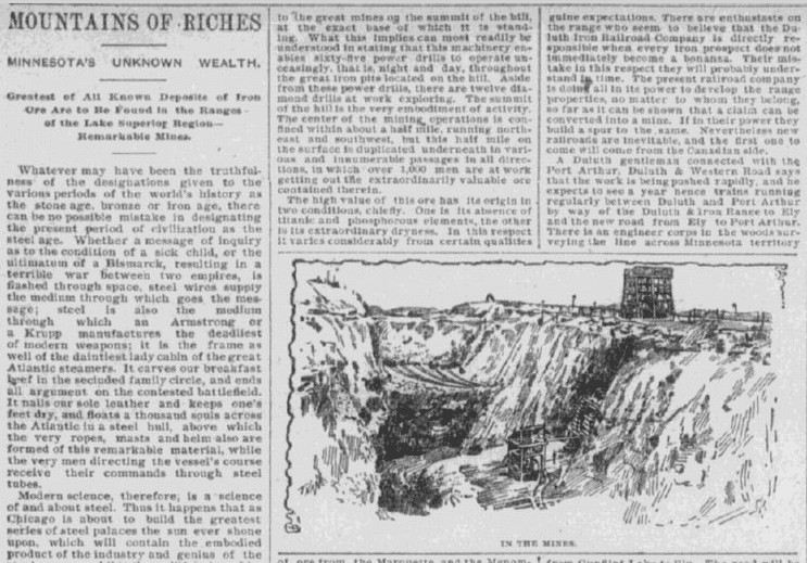 Mountains of Riches, Chicago Herald newspaper article 14 October 1891