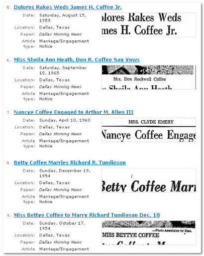"GenealogyBank ""article type: marriage records"" results for search term ""Coffee"""