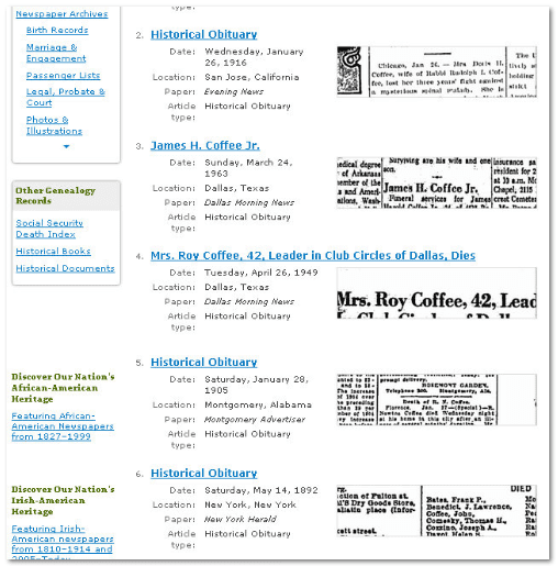 "GenealogyBank ""article type: historical obituaries"" results for search term ""Coffee"""
