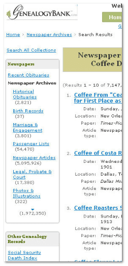 "GenealogyBank search results page showing ""article types"""