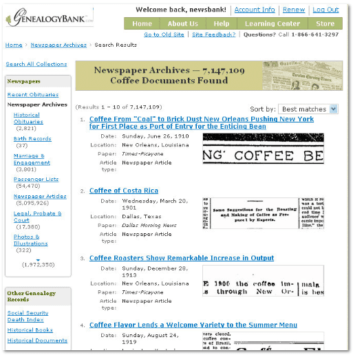 "GenealogyBank search results page for search term ""Coffee"""